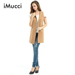 Wholesale Winter Coats Camel Color - 2016 New Women Autumn Wool Blend Vest Waistcoat Ladies Winter Long Camel Vest Sleeveless Jacket Coat Plus Size Veste Femme Gilet