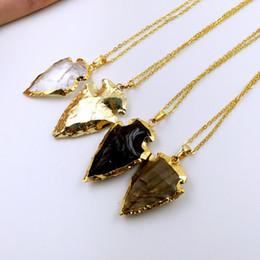 Wholesale Crystal Stones Bulk - Crystal Arrowhead Arrow Head Pendant Charms, Small Gold Arrowheads, Black Obsidian Arrowhead Pendant Stone Arrowheads BULK LOTS Choose Color