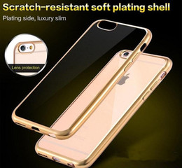 Wholesale Iphone Gold Plating Case - Electroplating Clear Case Ultra thin Plating Soft TPU Defender Phone Cases Cover For iPhone X 8 7 6 6S Plus 5 5S SE