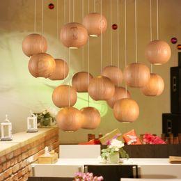 Wholesale Wooden Living - Modern Native Wood Handmade Wooden Chandelier Hanging Lights LED Ball Pendant Lamp Ceiling Light Meteoric Shower Stair Light LED Lighting