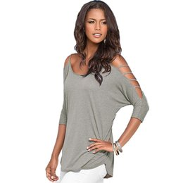 Wholesale Crew Cuts Girls - Wholesale- Sexy Girls Women Cut out Shoulder Tee Shirt Casual Loose Tops T-shirt Shirt Solid LM7993