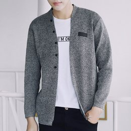 Wholesale Teenage Boys Winter Coats - Sweater Mens Winter 2017 Long Sleeve Gray Knitted Cardigan masculino Teenage Boys Casual Coats Fashion Slim Fit V Neck Clothes For Men