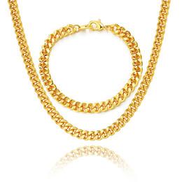 Argentina Juego de brazaletes de cadena de eslabones de bordillo en capas 18K oro real / oro rosa / platino 6 tamaños Moda Hombres Accesorios de joyería cheap zirconia necklace sets Suministro