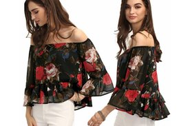 Wholesale Xl Blouse For Women Cheap - 2017 New Arrival Boho Summer Beach Shirt and Blouse Printed Flowers Sexy Off Shoulder Cheap Women Clothes For Party FS0753