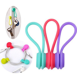 Wholesale Usb Cable Organizer - Hot Multifunction Magnet Silicone Earphone Headphone Cord Winder USB Cable Holder Strap Magnetic Organizer Gather Clips Colorful CAB211