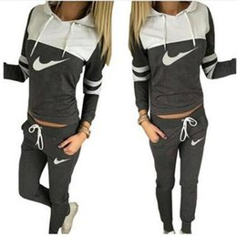Wholesale Fleece Jogging Pants - 2016 Sportwear Womens Tracksuit Set Brand Sport Suit Women Hoodie Casual Sports Sweatshirt + Pants Jogging Suits 2 Pieces