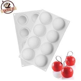 Wholesale Round Soap Mold - 1pcs Silicone Round Ball Shape Non -Stick Truffles Chocolate Mold For Fondant Soap Jelly Pudding Candy Mould Cake Decorating Tool