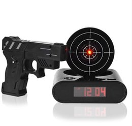 Wholesale Laser Guns Lcd - Desk Gadget Target Laser Shooting Gun Alarm Clock LCD Screen Gun Alarm Colck Target Alarm Clock