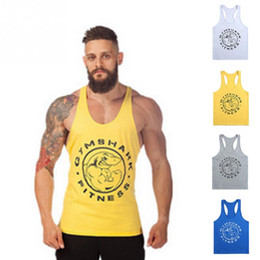 Wholesale Men S Tank Top Wholesale - Wholesale-New Arrival Gym Tank Top Men Gymshark Bodybuilding and Fitness Men\'s Singlets GYM Tank Shirts H-back Vest Sports Clothes
