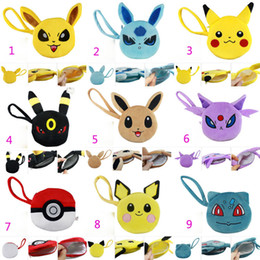 Wholesale Turtle Bags Wholesale - 9 Styles Poke go wallet bags Children Cartoon Poke Ball Pikachu Jeni turtle Plush Keychain wallet baby bag Free Shipping