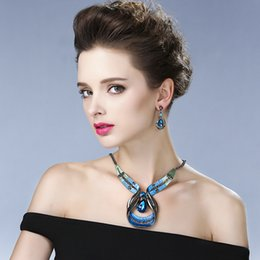 Wholesale Turquoise Coral Pendant - Fashion Necklace Earrings Set Party Jewelry Women Accessories Love Drops Pendant Necklace brides bridesmaid jewelry set Free Shipping