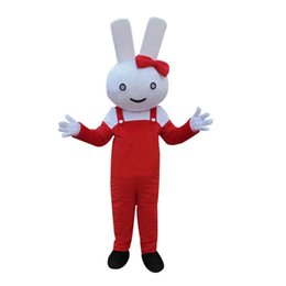 Wholesale Miffy Rabbit Costume - Miffy Rabbit Mascot Red Overall Costume Miffy Rabbit Bunny Mascot Costume Fancy Dress Suit Miffy Rabbit Halloween dress Carnival costumes
