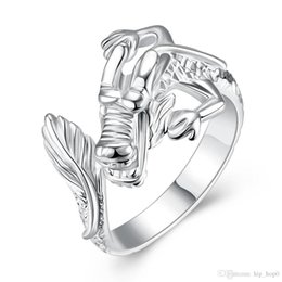 Wholesale Chinese 925 Animals - Chinese Dragon Ring 925 Sterling Silver Plated Jewelry Opened and Resizable Finger Ring Women Unisex Fashion Jewelry Lovely Gift