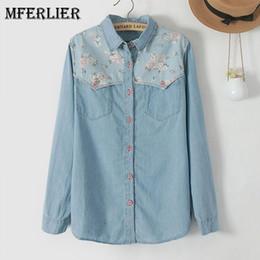 Wholesale Jeans Shirt Sleeves Women - Mferlier Mori Girl Autumn Denim Woman Shirt Floral Patchwork Jeans Blouse Long Sleeve Blouse Femme Plus Size Blusa