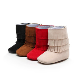 Wholesale Girls Brown Suede Boots - Baby Girls Boots Solid Suede Fringe Newborn Shoes 0-2years 10-14cm Hook Loop Babies Booties Soft Infant First Walkers X'mas Gift