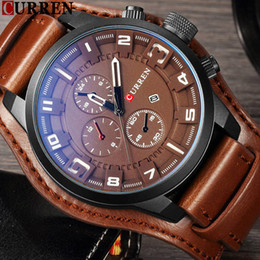 Wholesale Men Watches Curren - CURREN Top Brand Luxury Mens Watch Men Watches Male Casual Quartz Wristwatch Leather Military Waterproof Clocks Sport Clock Box