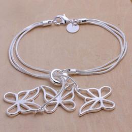 Chihuahua fascini online-tai chihuahua da sposa tre farfalle bracciale in argento 925 con charm 19cm DFMWB166, bracciale da donna in argento sterling placcato