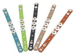 Wholesale Wholesale Kids Charm Bracelets - Dark buckle 2016 Leather Kids Childrens Colorful Hear Hollow Out Noosa Chunks Snap Button Leather Bracelets Ginger Snaps Interchangeable DIY
