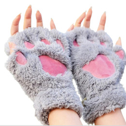Wholesale Half Finger Gloves Cover - Bear Plush Paw Claw Half Finger Glove Women Winter Fingerless Gloves Fluffy Half Cover Female Gloves 12pairs lot