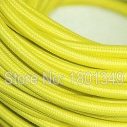 Wholesale Fabric Cord Covers - Wholesale-50 meters Yellow Color 2*0.75mm2 Textile Electrical Wire Color Braided Wire Fabric Covered Electrical Power Cord Wire Cable