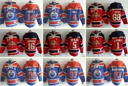 Wholesale Hockey Hoodies - Men's 14 Ebrele 4 Hall 68 Jagr 16 Barkov 5 Ekblad 1 Luongo 99 Gretzky 97 Mcdavid 93 Mugent-Hopkins Red Blue Ice Hockey Hoodies Hooded