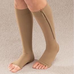 Wholesale Zipper Socks - NEW 1pair Zip Sox Compression Socks Zipper Leg Support Knee Stockings Open Toe