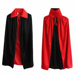 Wholesale Kids Vampire Costumes - Halloween witches collar black and red cape cloak vampire cape worn on both sides And Cloak Uniform Cosplay Costume For Masquerade Party