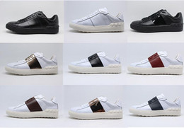 Wholesale Vogue Spring - BEST QUALITY! colors genuine leather unisex sneakers shoes luxury designer v vogue runway black red yellow blue