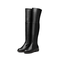 Wholesale black block heels - Fashion Women Shoes Synthetic Leather Block Heel Zip Round Toe Knee High Boots B603 US Size 4 -10.5 Black