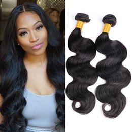 Wholesale Indian Human Hair Raw - Body Wave Raw Hair Weave 4 Pcs Lot Cheap Human Hair Bundles Brazilian Peruvian Indian Malaysian 7a Virgin Hair Extensions Natural Black
