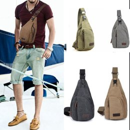 Wholesale Wholesalers Men Small Wallets - Men Chest Canvas Package Shoulder Sports Bag Crossbody Wallet Crossbody Shoulder Bag Military Messenger Casual Travel Chest Bag KKA2326