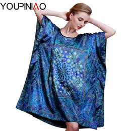 Wholesale Floral Pyjamas - Wholesale-Summer Satin Silk Women Nightgown Sleepshirts Retro Femme Pyjamas Pjs Sleepwear Plus Size
