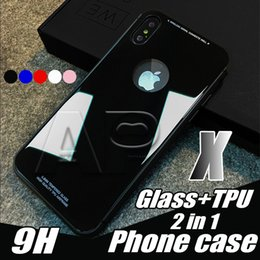 Wholesale Fit Slip - Case For Iphone X 10 8 7 Plus 9H Tempered Glass Back Cover Cases Anti-slip with OPP Pack