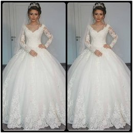 Wholesale Muslim Cover - Gorgeous Sheer Ball Gown Wedding Dresses 2017 Puffy Lace Beaded Applique White Long Sleeve Arab Wedding Gowns robe de mariage