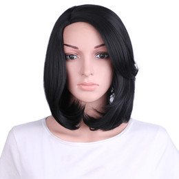 """Wholesale Sythetic Hair Wigs - High Temperature Fiber Wigs For Women Wavy 16"""" Short Bob Wigs With Side Bangs Sythetic Hair"""