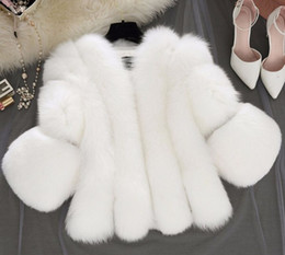 Wholesale Short Gilet - New Winter Pink Woman Fashion Furry Faux Fox Fur Coats Artificial Fur Short Grey Jacket Faux Fur Gilet Black