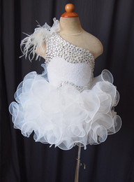 Wholesale Kids Ball Gowns One Shoulder - One shoulder fur lace up flower girls organza beads cupcake little girls pageant dresses kids toddler glitz prom Infant ball gowns