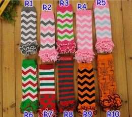 Wholesale Infant Girl Chevron - Hot! Children Chevron Leg Warmers Baby Zigzag Ruffle Leg Warmer Baby infant leg warmer children Legging Tights Legging toddler kneecap