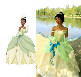 Wholesale Princess Frog Dress - Wholesale-Ladies' Fancy Dress Adult Women The Princess and the Frog Tiana Cosplay Tiana Princess Costume Cosplay Green Princess Costume