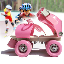 Wholesale Green Inline Skates - Children Roller Skates Double Row 4 Wheel Skating Shoes Adjustable Size Sliding Slalom Inline Skates Kids Gifts