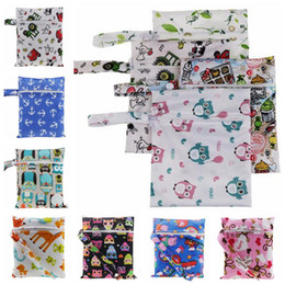 Wholesale Baby Printed Cloth Diapers - 23 Designs Baby Diaper Bags Portable Nappy Stackers Cloth Storage Bag Zipper Waterproof Diaper Bag Infant Nappy Stacker Bag CCA6899 100pcs