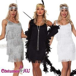 Wholesale Dresses Bands - 2016 Hot New Fashion Layer Tassel Spaghetti Women Party Dress with Head Band White Black Sliver A line Short Fashion Women Dress In Store