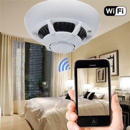 Wholesale Ip Security Dvr - WiFi Wireless IP Camera Smoke Detector Camcorder UFO Super Camera Cam Security DVR Video Recorder P2P for IPhone Ipad Android Phone