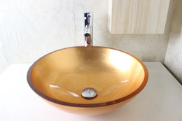 Wholesale Hand Painted Wash Basin - Tempered glass circular basin hand basin factory direct special wash basin bathroom basin basin with a leading set N-781