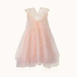 Wholesale Sexy Child Clothing - S5Q Girls Kids Summer Halter Net Yarn Gown Princess Dress Party Sundress Clothing AAAFYP