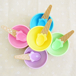 Wholesale Waffle Cones - Wholesale Children's Plastic Ice Cream Bowls Spoons Set Durable ICE Cream CUP for KIds Waffle Cone Bowl Gifts Lovely Dessert Bowl VT0156