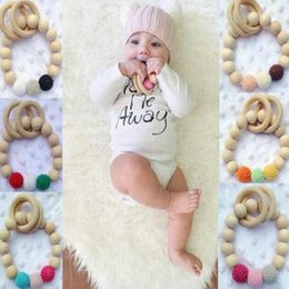 Wholesale Wooden Beads Wholesale Free Shipping - European Style Children Wooden Bracelets Baby Teether Infant Wooden Beads Teethers Beads Handmake Teething Baby Toys Free Shipping