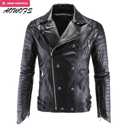Wholesale Mens Punk Leather Jacket - Wholesale- AOWOFS Mens Leather Jackets Black Motorcycle Jackets Skulls Rivets Oblique Zipper Slim Fit Quilting Punk Leather Jackets 5XL