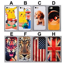 Wholesale Case Iphone Dogs - For iPhone 7 Cartoon Pikachu TPU Case UK US Flag Cute Dog Tiger Lion Painting Gel Soft Phone Back Cover for iphone7
