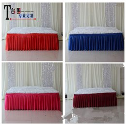 Wholesale Hotel Christmas Party Table Decoration - Custom Ice Silk Solid Wedding Table Skirting Cloths 35cm 45cm 75cm 80cm 85cm 100cm Height Meeting Hotel Table Curtain